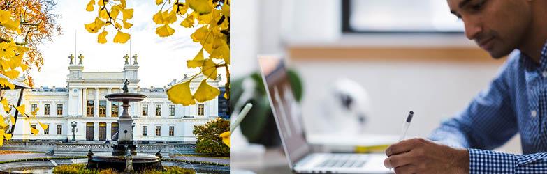 Bild på Lunds universitetshus och på student vid dator.